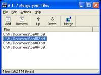 Screenshot programu A.F.7 Merge your files 1.3