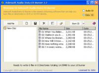 Screenshot programu Adensoft Audio/Data CD Burner 3.0