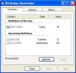 Screenshot programu Birthday Reminder 1.70