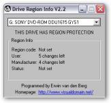 Screenshot programu Drive Region Info 2.2