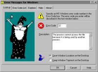 Screenshot programu Error Messages For Windows 2.9