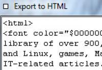 Screenshot programu Export to HTML 1.01