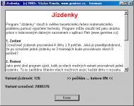 Screenshot programu Jízdenky