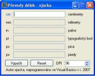 Screenshot programu Převody délek 1.0
