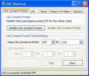Screenshot programu UAC Shortcut 1.0.1