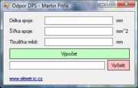 Screenshot programu Výpočet odporu DPS 0.1