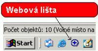 Screenshot programu Webová lišta 1.2