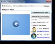 Screenshot programu Windows 7 Folder Background Changer 1.0